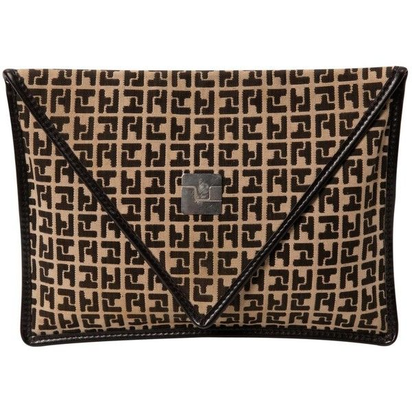 Pre-owned Ted Lapidus Cloth Clutch Bag (£130) ❤ liked on Polyvore featuring bags, handbags, clutches, beige, women bags clutch bags, print purse, beige clutches, brown handbags, snap closure purse and pattern purse