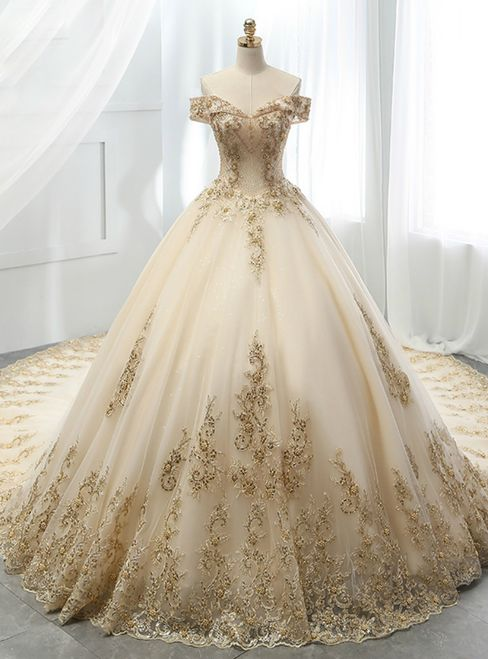 Champagne Ball Gown Tulle Gold Lace Appliques Wedding Dress 453f9c9fbde8