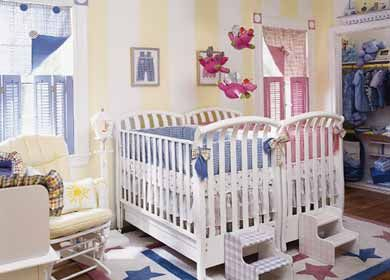 This is so cute - Twin nursery has a little bit for each baby; boy and girl.