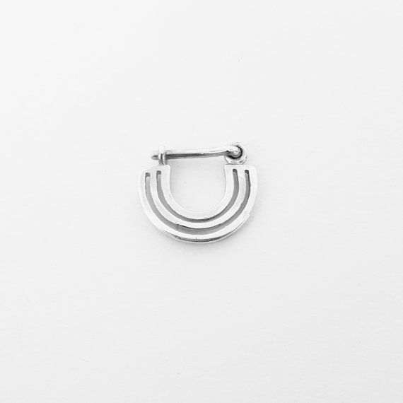 Septum Ring Sterling Silver Nose Ring Lines by eleven44jewelry