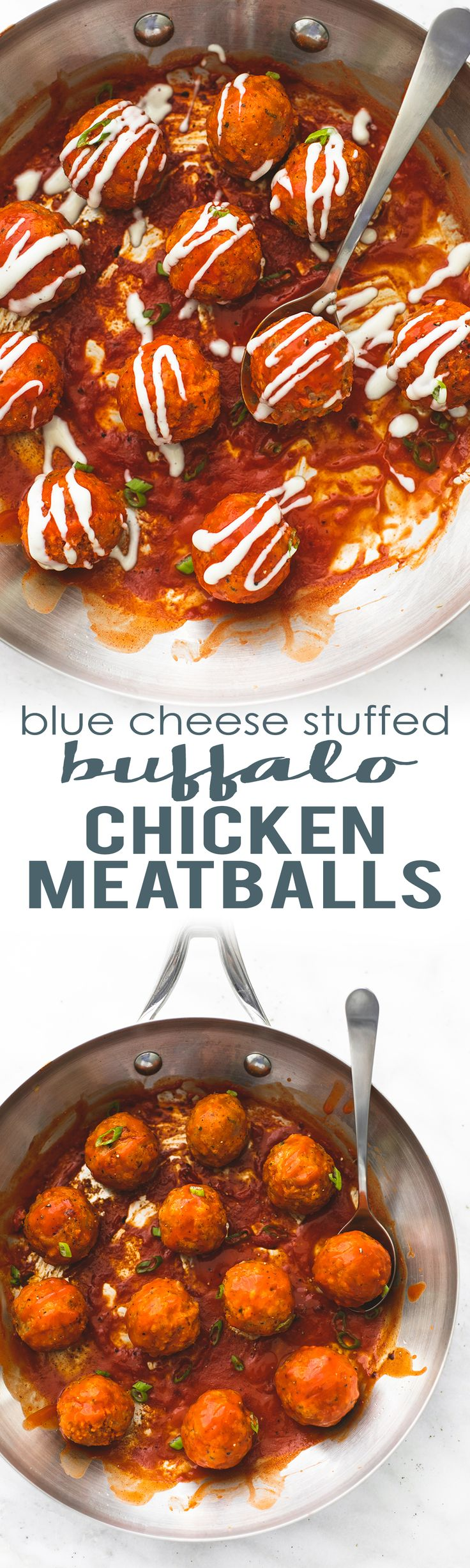 Blue Cheese Stuffed Buffallo Chicken Meatballs are the perfect appetizer for parties and tailgating!  | lecremedelacrumb.com