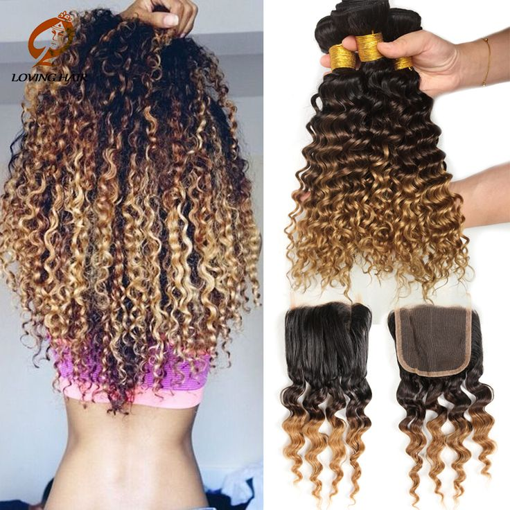 Ombre Deep Curly Brazilian Hair Kinky Curl 3 Bundles Brazilian Curly Hair Bundles With Lace Closures Blonde Brazilian Hair Weave
