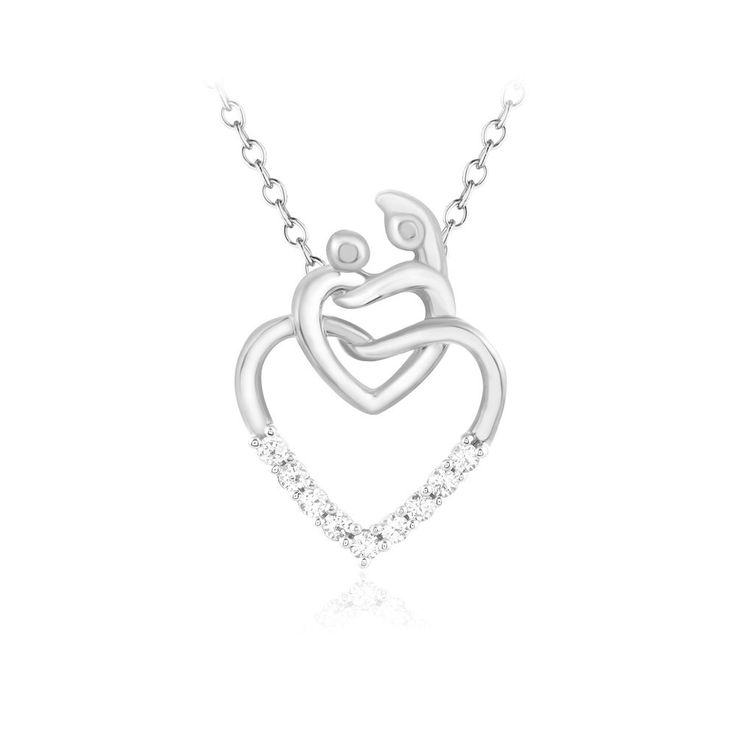 The 25 best real diamond necklace ideas on pinterest diamond 925 solid sterling silver 110 ct real diamond mom baby heart pendant necklace aloadofball Gallery