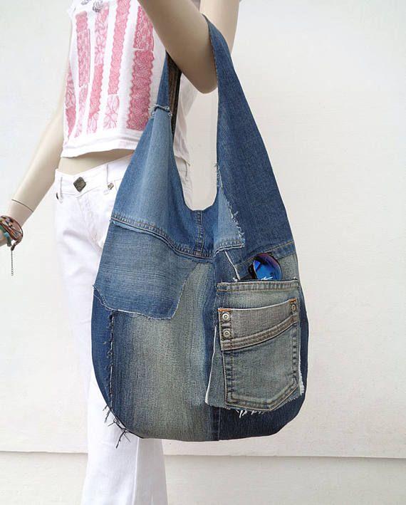 Denim tas slouchy portemonnee hobo sling tas grabbelton Casual