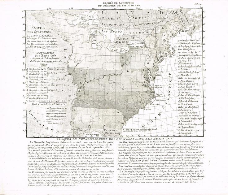 Carte des Etats-Unis - Epoques de l'établissement des européens dans les Etats-Unis.