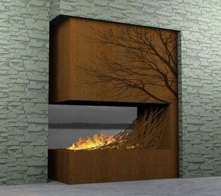 indoor/outdoor fireplace with acid etched tree heating from CRIBCANDY - a gallery of hand picked houshold and interior design items from magazines and webogs, every day