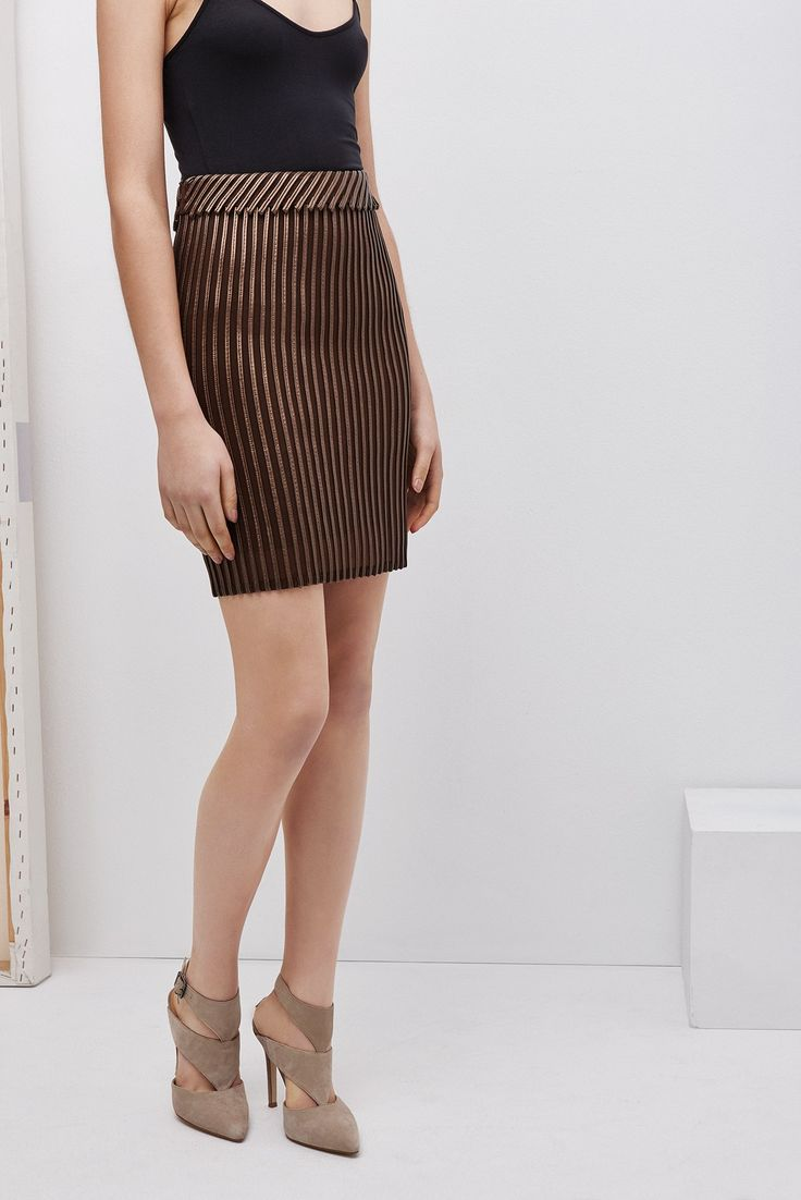 Adolfo Dominguez Mesh And Faux Leather Skirt in bronze.