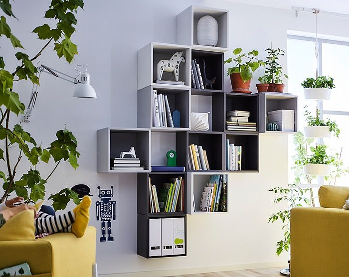 Stack Them Hang Them Or Combine Them In Thousands Different Ways Ikea Eket Open Wall Cabinets In Neutral Colors And T Eket Condo Living Room Ikea Living Room