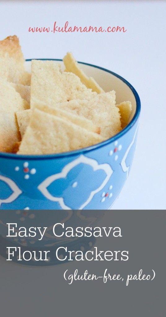 Easy paleo cassava flour cracker recipe from www.kulamama.com.  These are so easy to make and taste amazing!  Grain-free, dairy-free, gluten-free.