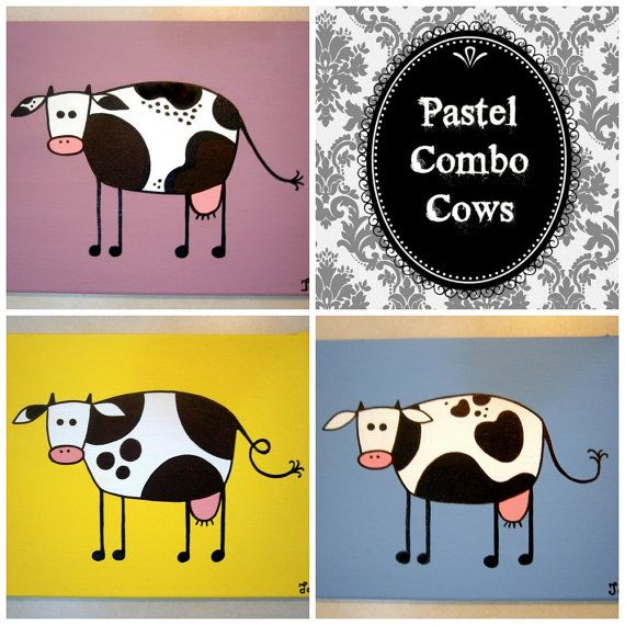 Pastel Combo Cows ~ Set of acrylic paintings on by MadCowzArt, €40.00  Cow Art