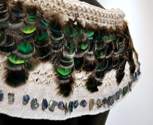 Robin Hill Kura Gallery Maori Art Design New Zealand Aotearoa Weaving Paua Arapaki Peacock Feather Shoulder Cloak Cape 3