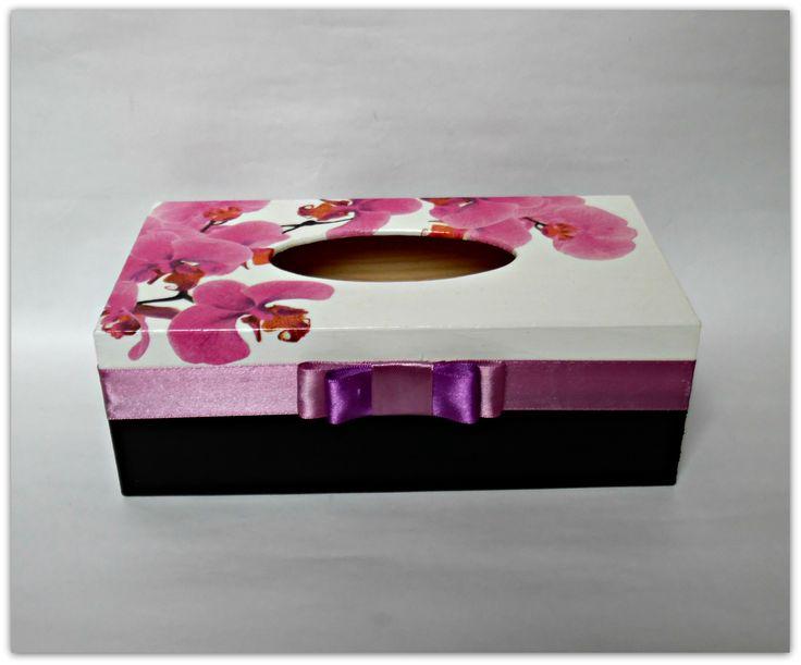 Pudełko na chusteczki ze storczykiem - Więcej na mojej stronie na fb - Decoupage Gallery