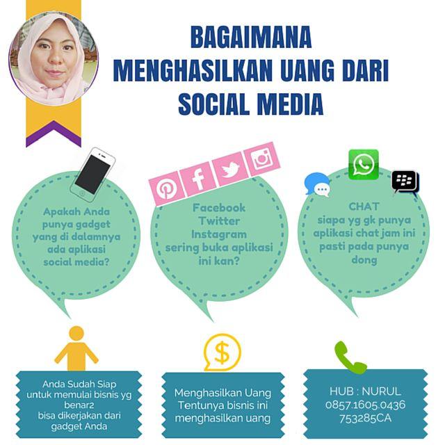 Hai aku nurul sedang mencari partner bisnis dengan memanfaatkan Social Media dengan penghasilan 4-7jt/bln. syartanya mau belajar, di bimbing, ber atittude baik KLIK: http://bit.ly/1smpt8y