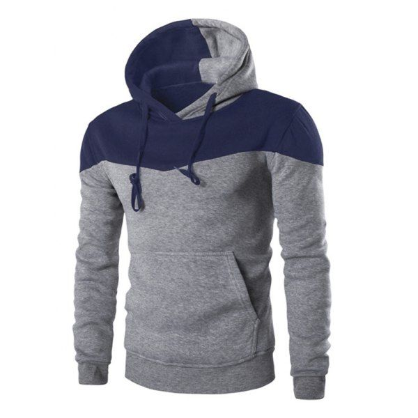 $14.21 Classic Color Block Front Pocket Hooded Long Sleeves Hoodie For Men