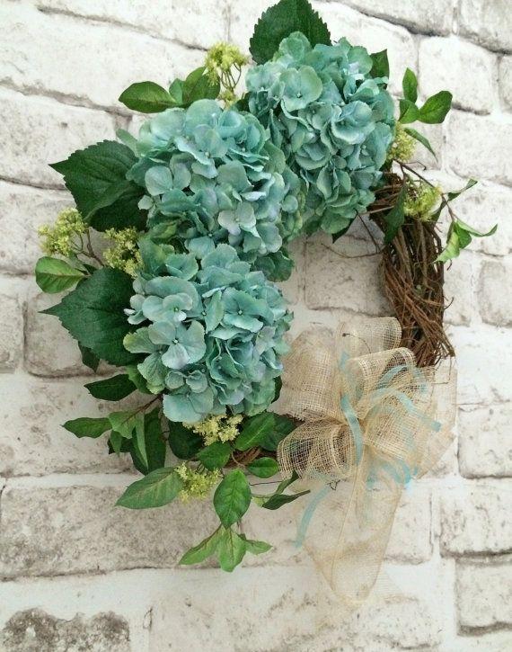Hydrangea Wreath Front Door Wreath Spring by AdorabellaWreaths