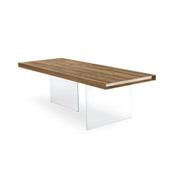 Tavolo di design Lago in legno e vetro