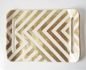 golden zig zag project idea for the new house!Gold Leaf, Leaf Trays, Projects Ideas, Zag Gold, Leaves, Gold Accents, Diy, Chevron Trays, Gold Chevron