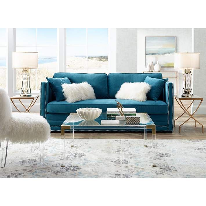 Hanna 40 Square Clear Acrylic Modern Coffee Table 1g405 Lamps Plus Living Room Designs Blue Loveseat Home