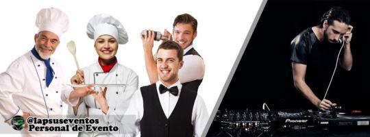 Personal de eventos, meseros, barman, chef, auxiliar de cocina, dj, animador, maestro de ceremonia, parrillero, entre otros.  @lapsuseventos