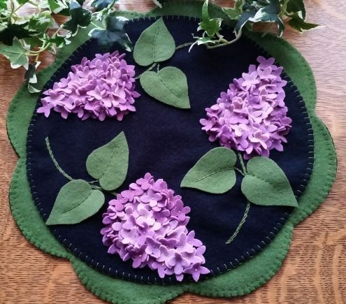 Lilac Beauty Wool Applique Cath Penny Rug Candle Mat Pattern