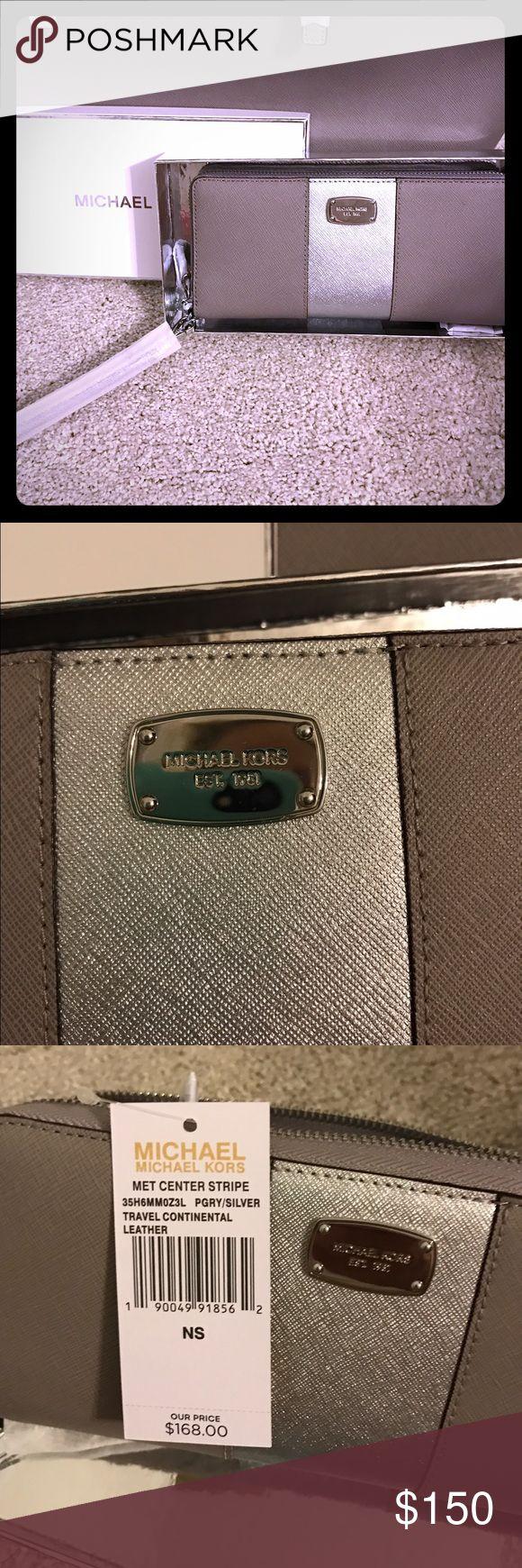 Michael Kors Pearl grey clutch wallet Brand new with tags, pearl grey and silver wallet/clutch. Michael Kors Bags