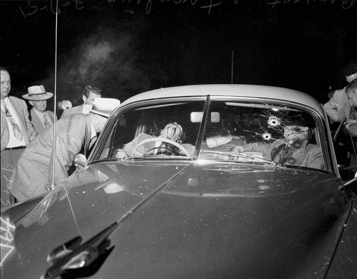 The gangland slaying of two Kansas City mobsters Tony Trombino and Tony Brancato.  The rub-out took place on North Ogden Drive just off Hollywood Boulevard in 1951.