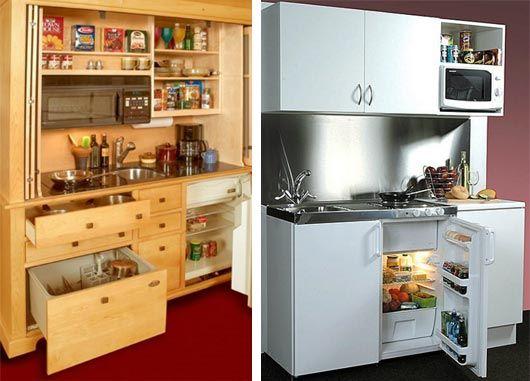 дизайн мини кухни в место духовки холодильник