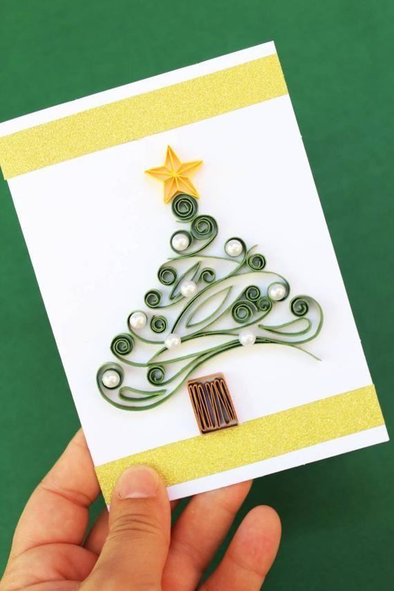 Christmas Greeting Card Christmas Tree Holiday Card Etsy Christmas Greeting Cards Quilling Christmas Christmas Cards