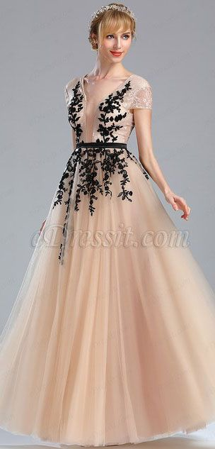 a8abe34077 Beige Beaded Homecoming Long Lace Prom Dress (02173814)