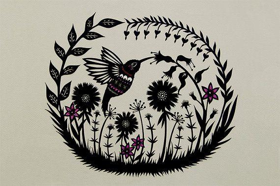 Jardin de Colibri 5 x 7 papier découpé Art Print par ruralpearl
