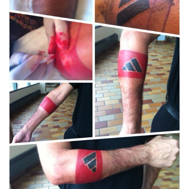 My new armband Adidas tattoo  cuz I m a big fan of Adidas :))))
