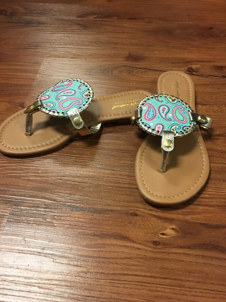 "Simply Southern ""Nautipaisley"" Flip Flop-Teal from Chocolate Shoe Boutique"
