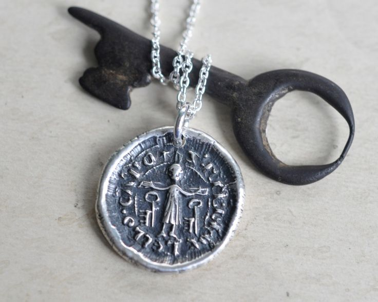 Saint Peter wax seal necklace - St. Peter crucified wax seal pendant ... keys to the kingdom - fine silver medieval wax seal jewelry by suegrayjewelry on Etsy https://www.etsy.com/listing/257125795/saint-peter-wax-seal-necklace-st-peter