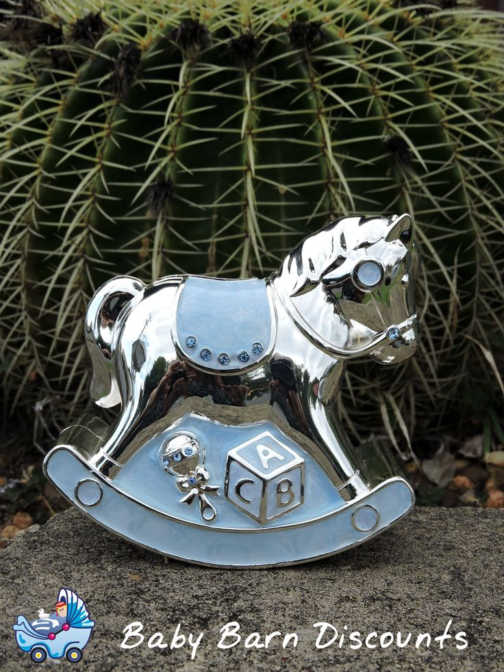 Beautiful silver plated moneybox in the shape of a rocking horse ideal Christening gift.