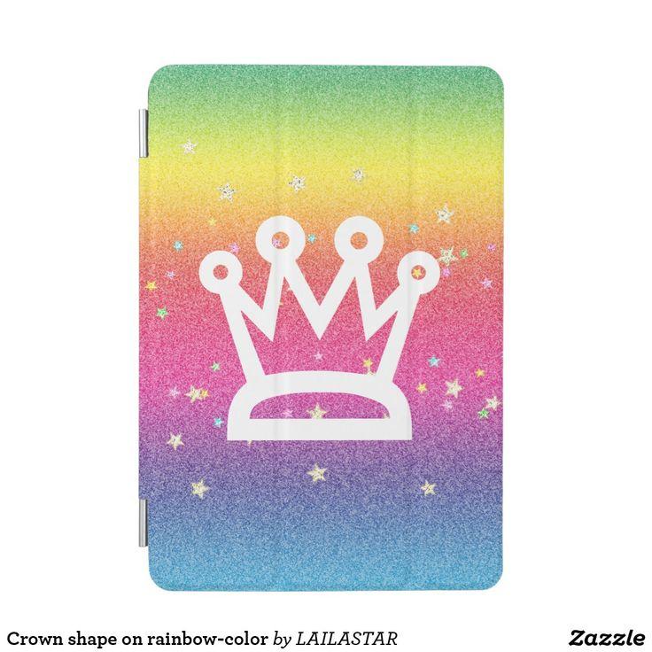 Crown shape on rainbow-color iPad mini cover