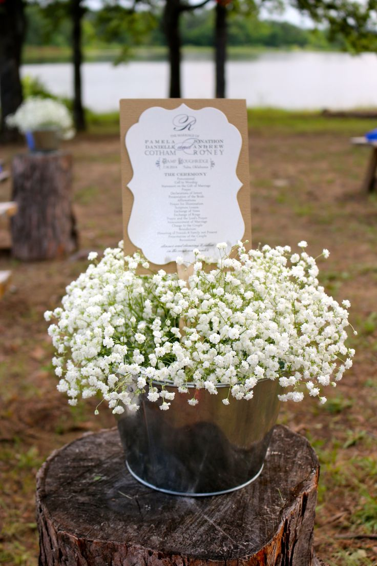 outdoor wedding, simple aisle decorations and program fan