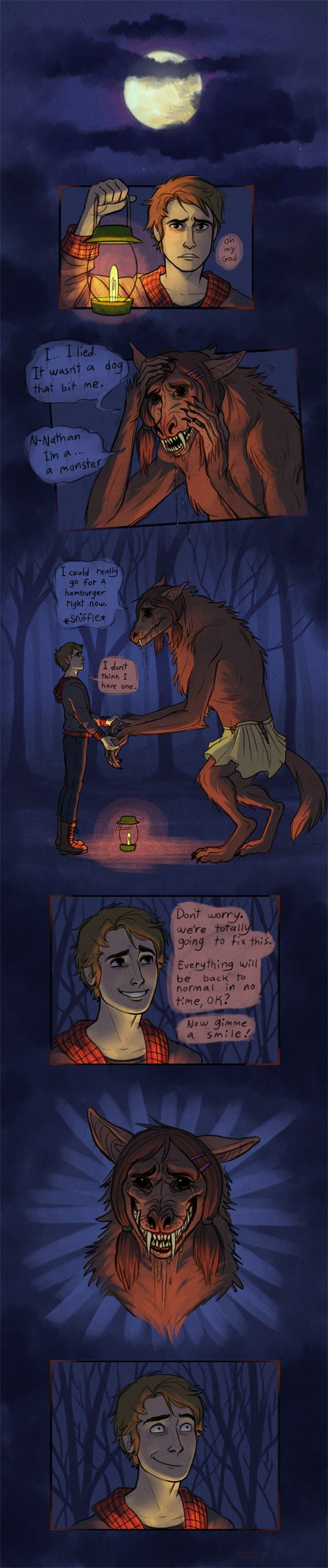 Werewolf comic by Emmy C on tumblr. If this were a regular webcomic, I'd definitely read it.