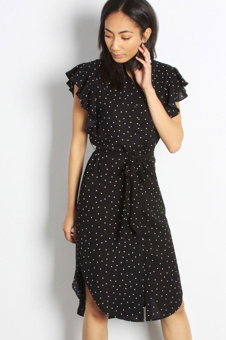 Black ruffle polka dot midi dress dresses black ruffle