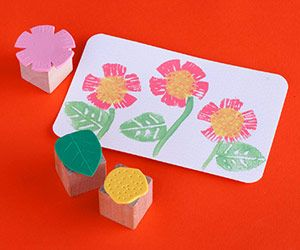 Easy Foam Stamps    Your kids will enjoy stamping colorful images on cards, envelopes, and more with these simple homemade stamps.    Make It: Cut free-form designs from foam sheets to create flowers. Adhere the shapes to wooden blocks to make the stamps. Use toothpicks to add lines and dots in the foam for added texture.