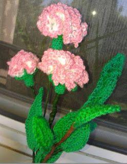 Horgolt holmik boltja: Szegfű rózsaszín