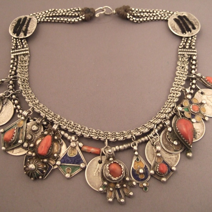 Africa | Kabyles silver, enamel and coral necklace from Algeria | ca. more than 100 yrs old | © Michel Halter.