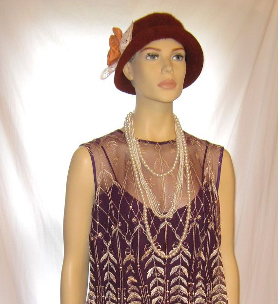 Vintage brown color women's the great gatsby style hat, Made in France ladies great gatsby accessories 1920s flapper hat, womens flapper hat by 777DressCode, $34.99