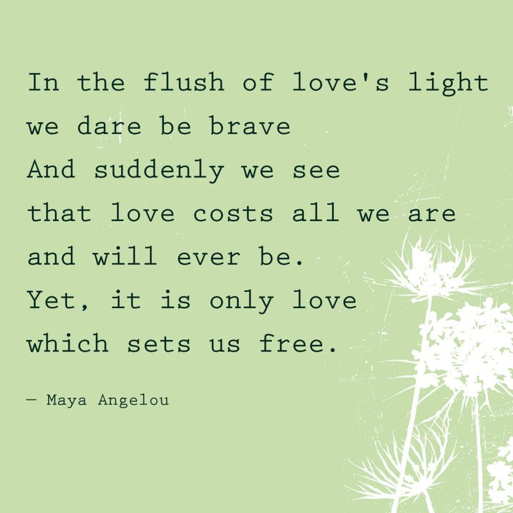 """In the flush of love's light we dare be brave. And suddenly we see that love costs all we are and will ever be. Yet, it is only love which sets us free."" — Maya Angelou"