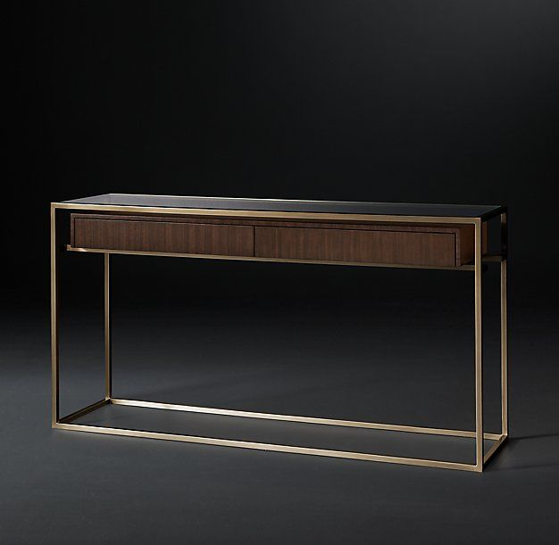 RH Modern's Kennan Console Table :A single wooden drawer suspended within a slender metal frame anchors our elegant table by Anthony Cox. Reflecting the spare lines of the 1950s, its openwork design occupies a minimum of visual space.