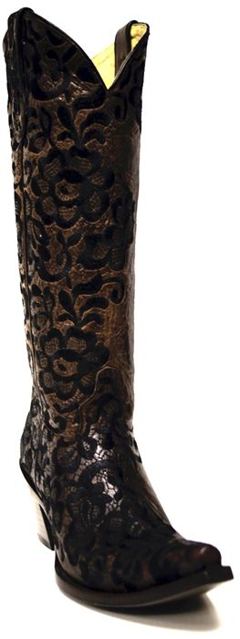 New to STT -- LOVE LACE? Then you will adore these Corral Women's Boots! These beautiful boots are made of brown cowhide and then embroidered with black floral lace. | SouthTexasTack.com