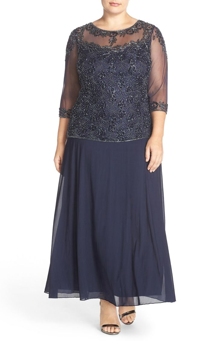 Free shipping and returns on Pisarro Nights Beaded Mock Two-Piece Gown (Plus Size) at Nordstrom.com. A sheer-illusion bodice overlay with beautifully beading creates a lovely two-piece look for an enchanting gown cut with three-quarter sleeves. Universally flattering, the A-line silhouette makes it easy to dance the night away.