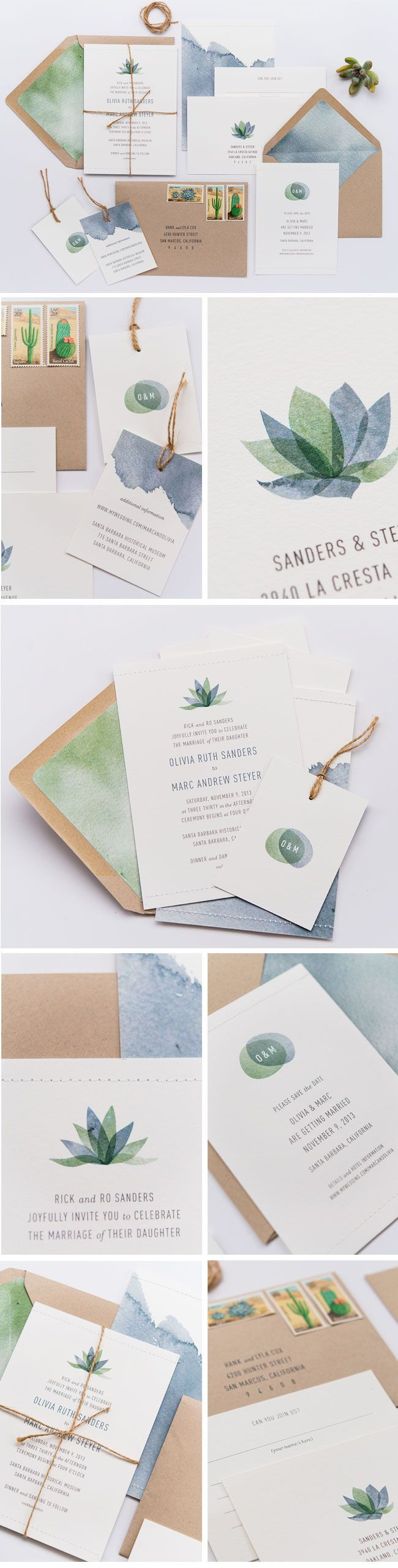 Gorgeous succulent inspired wedding invitations Bella