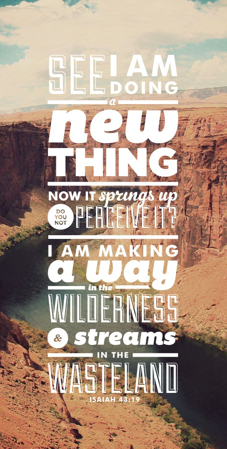 """""""See, I am doing a new thing! Now it springs up; do you not perceive it? I am making a way in the wilderness and streams in the wasteland."""" Isaiah 43:19"""