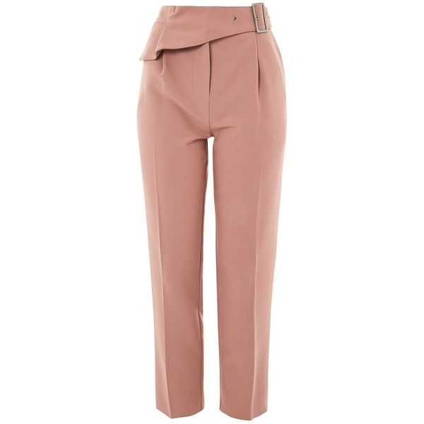 Topshop Ruffle Detail Peg Trousers ($52) ❤ liked on Polyvore featuring pants, capris, topshop, blush, peg pants, peg trousers, ruffle pants, beige pants and topshop trousers