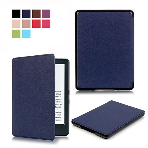 """Kindle 8th Generation Case, UCMDA Ultra Thin PU Leather Smart Protective Shell Cover with [Magnetic] [Auto Wake / Sleep] Funtion for Amazon All-New Kindle (8th Generation - 2016 release) E-reader, 6"""" Glare Free Touchscreen Display -Dark Blue - http://www.computerlaptoprepairsyork.co.uk/new-product-releases/kindle-8th-generation-case-ucmda-ultra-thin-pu-leather-smart-protective-shell-cover-with-magnetic-auto-wake-sleep-funtion-for-amazon-all-new-kindle-8th-generation-2016-rele"""